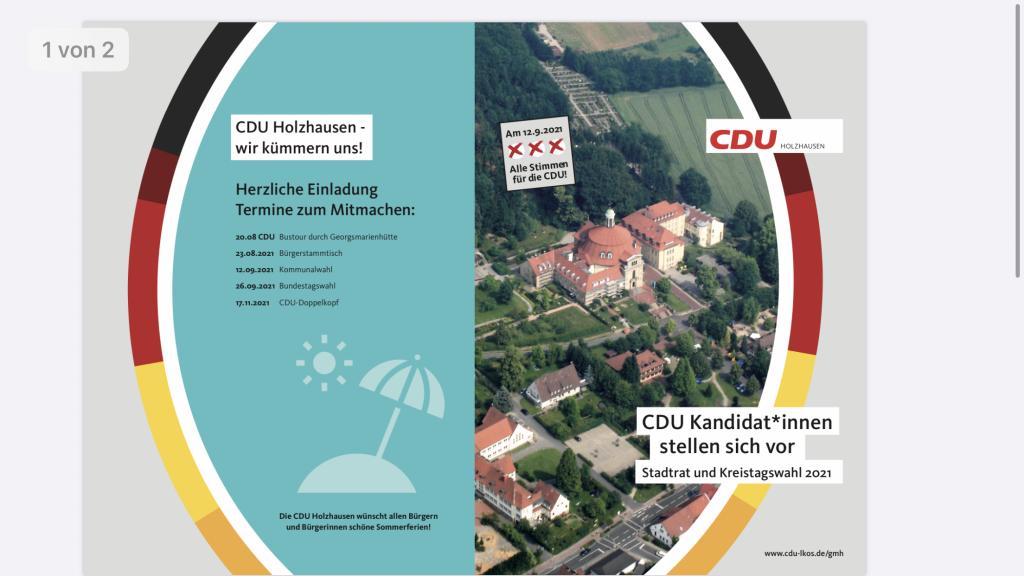 Flyer der CDU Holzhausen für die Kommunalwahl 2021